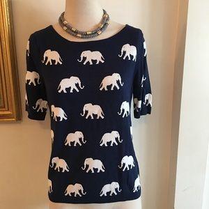 NWT Talbots elephant print top SZ mp